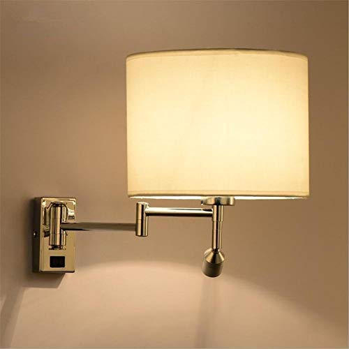 GaLon wandlamp, modern, creatief, verstelbaar, dubbele arm, E27, wandlamp, lampenkap, metaal, met schakelaar en LED-spots