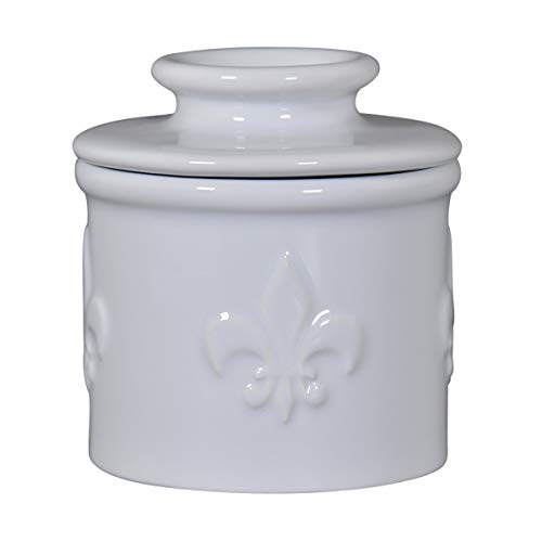 Butter Bell - The Original Butter Bell crock by L. Tremain, La Fleur Series of French ceramic butter keepers, Fleur de Lis Collection, Blanche