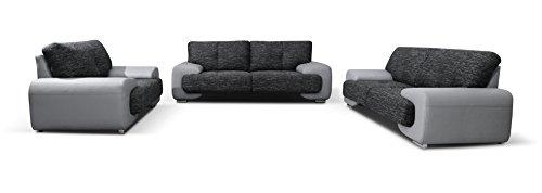 mb-moebel Polstergarnitur Sofa Set 3er & 2er & Sessel 3-2-1 Wohnlandschaft 3-Sitzer und 2-Sitzer Möbel Set - LORENTO (Grau)