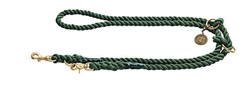 HUNTER LIST Verstellbare Führleine, Seil, Messing-Karabiner, maritim, 0, 8 x 200 cm, oliv