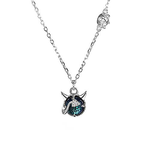 YNING Collar Femenino/Colgante de Collar de Diablillo/Plata de Ley S925 / Diseño con Incrustaciones de Arenisca Azul/Longitud de Cadena Ajustable