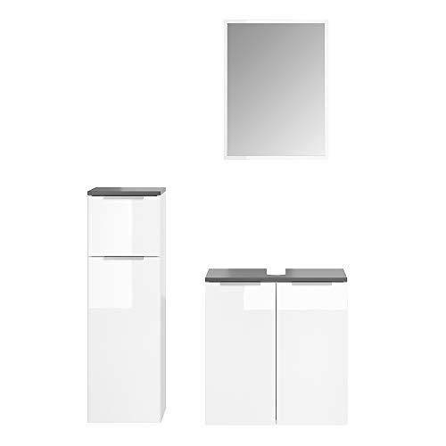 Vicco Badmöbel-Set Otis Weiß - Hochschrank Unterschrank Midischrank Spiegel Vier Verschiedene Ausführungen erhältlich (Spiegel+Unterschrank+Midischrank)