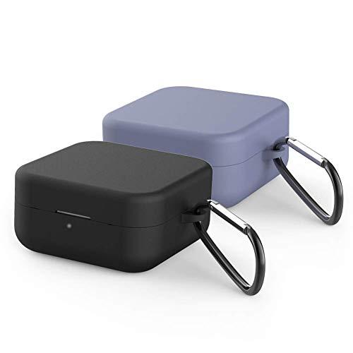 IVEOPPE [2-Pack] Funda Silicona Xiaomi True Air2 SE Airdots, Xiaomi Mi True Wireless Earphones 2 Basic Bluetooth Auriculares Wireless Carcasa (Negro + Gris Lavanda)