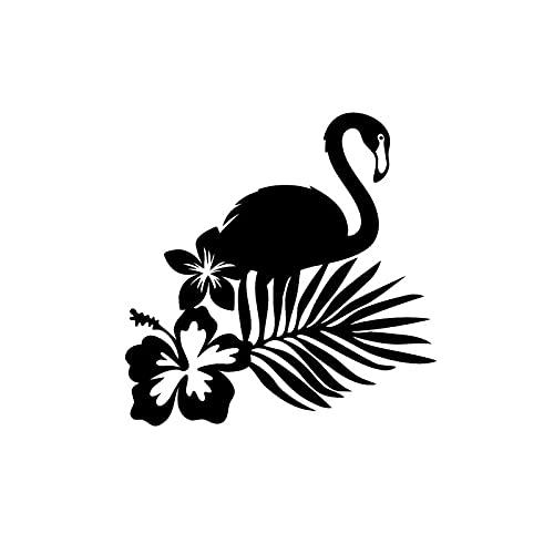 PJYGNK Sticker de Carro 16 CM * 16 CM Moda Tropical Flamingo Flor Palma Vinilo Coche Ventana Pegatina Negro/Plata C15-0985