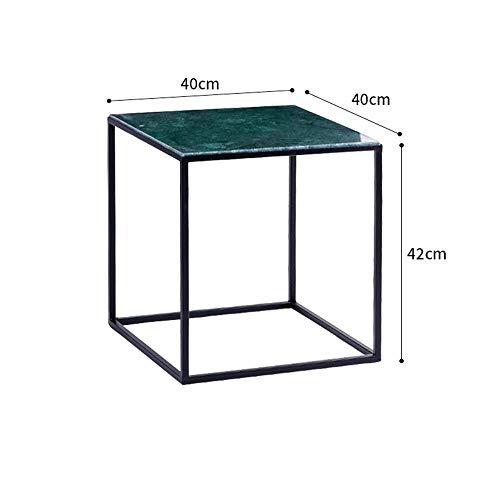 Metalen salontafel bijzettafel, marmeren nachtkastje laptop tafel huis woonkamer decoratie tafelZHFZD, 40 * 40 * 42cm, Groen