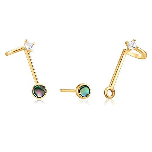 Pendientes Ania Haie plata Ley 925m chapada oro 14k colección Turning Tides earjacket abulón