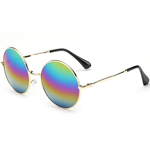 GEELOOK Oversized Round Circle Mirrored Hippie Hipster Sunglasses - Metal Frame (Multicoloured, as picture)