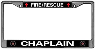 paipaidiedie FIRE Rescue Chaplain Custom License Plate Frame,US Firefighter Stainless Steel Car License Plate Frame Anti-Theft Screws Caps 2 Holes