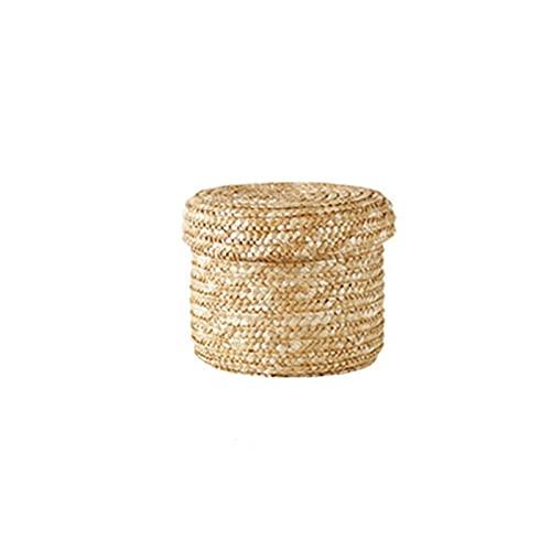 Cesta de almacenamiento tejido de paja hecha a mano, caja de almacenamiento de cesta de almacenamiento con tapa, canasta de lavandería, cesta de flores de almacenamiento de ratán ( Color : Medium )