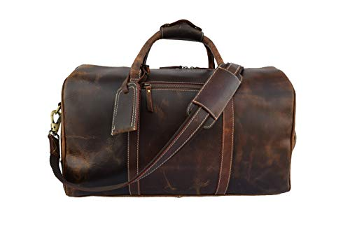 Leather Castle Vintage Buffalo Hide Duffel Bag | Sports Gym Training Fitness Handbag Duffel | Weekend Travel Flight Aircabin Carry-on Luggage Bags For Men Women, 20 Inch (Chocolate Brown)