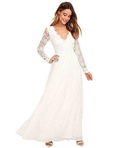 Baymate Damen Elegant Hochzeit Abendkleid Spitzen Brautjungfer Cocktailkleid Vintage Langes Kleid (Stil 2, Asia M)