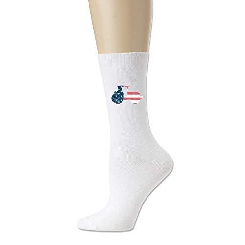 wonzhrui Calcetines deportivos de algodón unisex con bandera americana de silueta de tractor blanco Calcetines tobilleros casuales