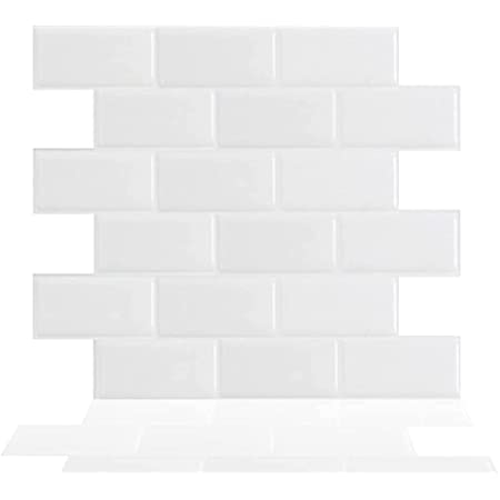 """Tic Tac Tiles 12""""x 12"""" Peel and Stick Self Adhesive Removable Stick On Kitchen Backsplash Bathroom 3D Wall Sticker Wallpaper Tiles in White Subway Designs (Subway White, 5 sheets)"""
