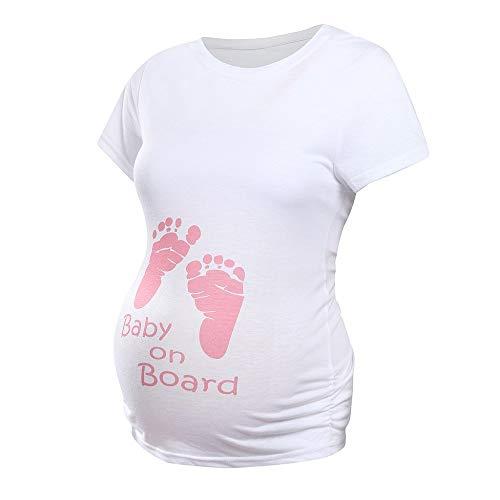 Lustige Witzige süße Umstandsmode Drucken Schwangerschaft T-Shirt Kurzarm O-Ausschnitt Oberteil Maternity Umstandsshirt Pflege Baby Umstandskleid Elegant Umstandstop Sommer beiläufige Bluse