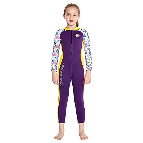 Full Body Wetsuit Kids Thermal Swimsuit for Girls Boys Surf Suit Neoprene 2.5MM, Toddler Teens Youth Wetsuits Long Sleeve Child Diving Suits One Piece for Swiming Snorkeling Water Sports (Purple, XL)