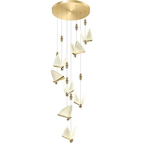 Lámpara de cristal moderna 48W LED de la lámpara colgante de la lámpara de la lámpara de la mariposa 8 luces del edificio dúplex grande Luz Neutral 4000K Luz de arte minimalista para la escalera Lámpa