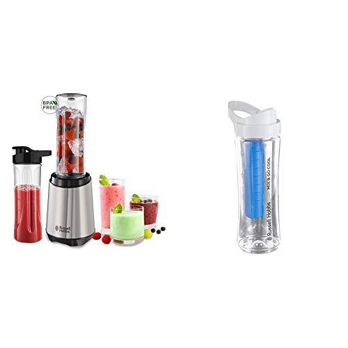 Russell Hobbs 23470-56 Mix&Go Steel Standmixer / Smoothiemaker inkl. 2 Trinkflaschen und 1 Trinkflasche mit Kühlakku (300 Watt), edelstahl