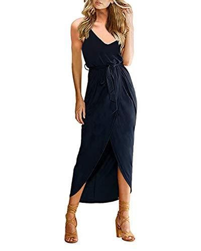 CNFIO Kleider Damen Sommerkleider Maxi Kleid ?rmellos Abendkleid Strandkleid Elegant Lange Cocktail mit G¨¹rtel Blau XXL