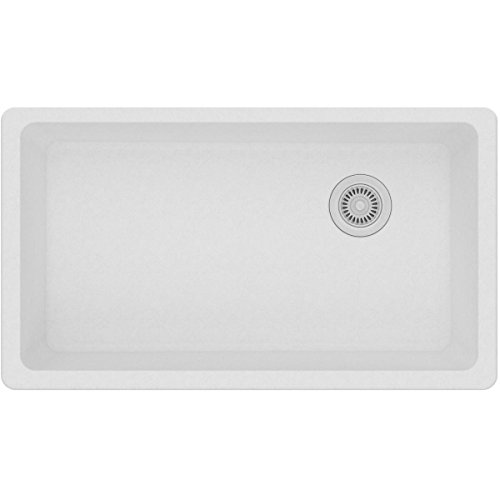 Elkay Quartz Classic ELGU13322WH0 White Single Bowl Undermount Sink