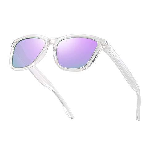 Dollger Gafas de sol polarizadas para hombres y mujeres, gafas de sol retro clásicas con protección UV400, Marcos transparentes/lente morada, M