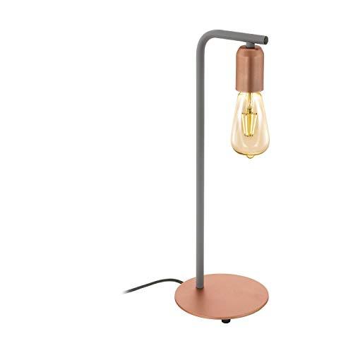 EGLO Adri 1 lámpara de mesa Gris, Oro rosa E27 - Lámparas de mesa (Gris, Oro rosa, Acero, Dormitorio, Salón, II, E27, 1 bombilla(s))