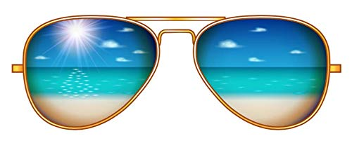 "Beach Reflection Sunglasses - 5"" Vinyl Decal Sticker from Blue Cannon Trading Company. Perfect for Water Bottles, laptops, notebooks, car, etc."