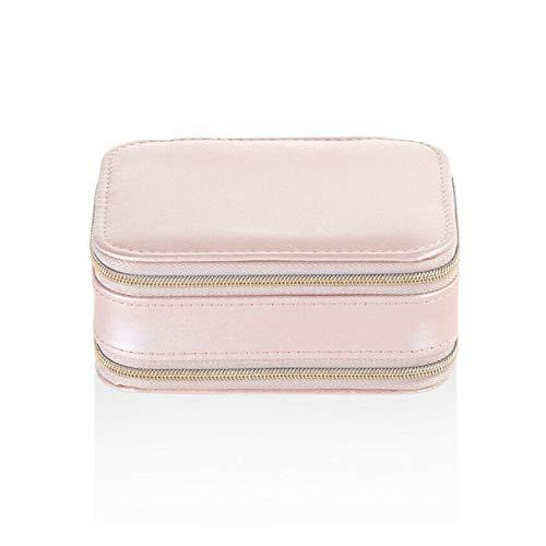 XMCHE Joyero portátil de Almacenamiento Organizador de Cuero con Cremallera Titular de la joyería Cajas de Embalaje de Regalo Pantalla el Cuadro de Viajes for Las Mujeres (Color : Pink)