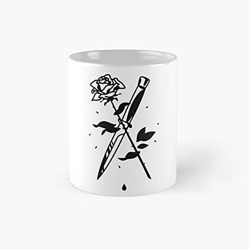 Tazas de café divertidas de la hoja de la rosa del tatuaje taza del mejor regalo 11oz
