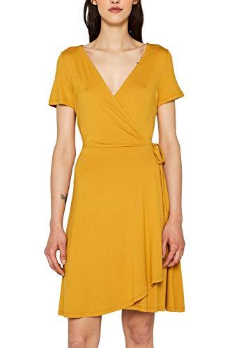 Vestido amarillo casual, con escote en V y lazo en la cintura