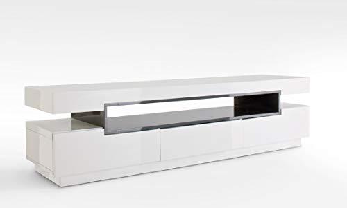 Robas Lund Lowboard Weiß Hochglanz lackiert TV Möbel mit Absetzungen Grau