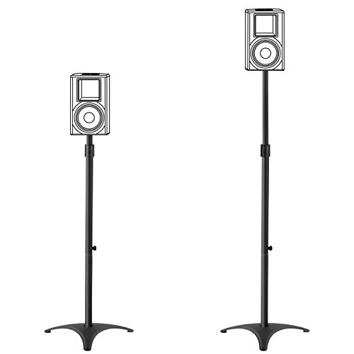 "Mounting Dream Height Adjustable Speaker Stands Mounts, One Pair Floor Stands, Heavy Duty Base Extendable Tube, 11 lbs Capacity Per Stand, 35.5-48"" Height Adjustment MD5401 (Speakers Not Included)"