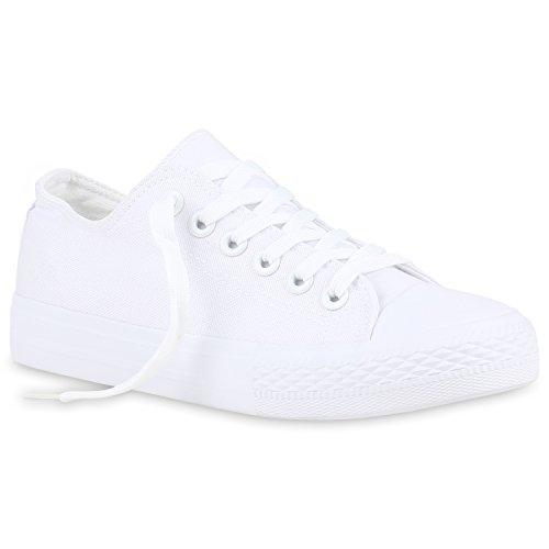 stiefelparadies Damen Schuhe Sneakers Low Canvas Schuhe Turnschuhe Freizeit 123351 All Weiss Weiss 44 Flandell