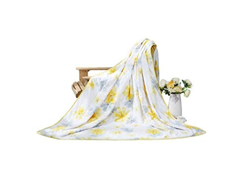 Eastery Fjxlz zomerdeken, katoenprinten, eenpersoons, dubbellaags, klimaatregulerend doorgestikt deken, citroengeel, 150 x 200 cm, zacht en comfortabel opvouwbaar, cool deken, afmetingen 150 x 200 cm