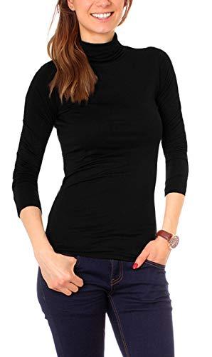 Easy Young Fashion Basic Damen Rollkragen Jersey Shirt Unterzieher Longsleeve Enganliegend Langarm Einfarbig One Size Schwarz