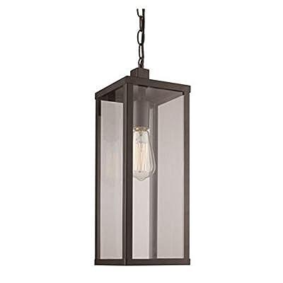 "Trans Globe Lighting 40757 BK Oxford Outdoor Black Industrial Hanging Lantern, 19.5"""
