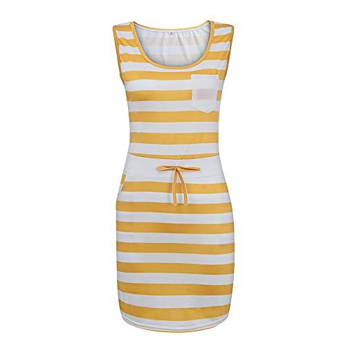 N\P Summer Women Casual Shirts Dress Women's Dress Summer Casual Yellow