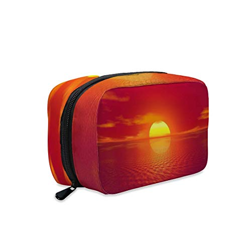 Sunset Sea Horizon Sun Sky Ocean Makeup Bag Zipper Pouch Travel Toiletry Bag Cosmetic Accessories Organizer Purse Large Portable for Women Girls