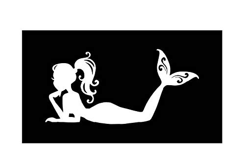 Relaxing Mermaid Vinyl Decal |White | Made in USA by Foxtail Decals | for Car Windows, Tablets, Laptops, Water Bottles, etc. |4.5 x 2.2 inch