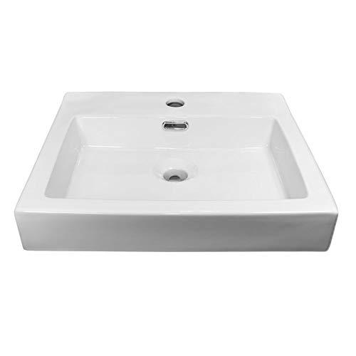 NEG Waschbecken Uno23A (eckig) Aufsatz-Waschschale/Waschtisch (weiß) mit flachem Rand und Nano-Beschichtung