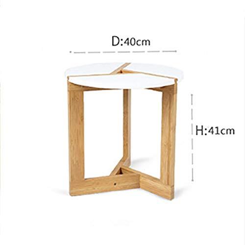 Eettafel LKU Stijlvolle massief houten salontafel woonkamer bank bijzettafel kleine eettafel creatieve bamboe salontafel, S 40x40x41cm