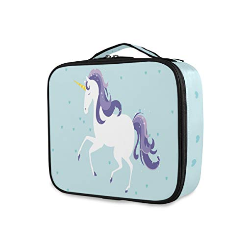 Outils de stockage Cosmetic Train Case Portable Makeup Bag Unicorn Toiletry Pouch Travel Box