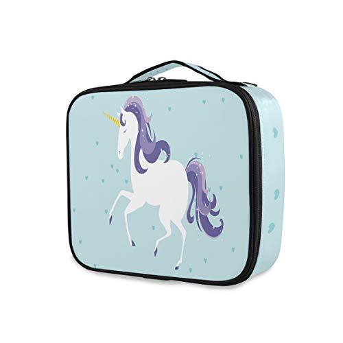 Outils de stockage Cosmetic Train Case Portable Makeup Bag Unicorn Toiletry Pouch Travel Box
