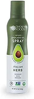 Chosen Foods Italian Herb Avocado Oil Spray 4.7 oz., Non-GMO, 500° F Smoke Point, Propellant-Free, Air Pressure Only for High-Heat Cooking, Baking and Frying