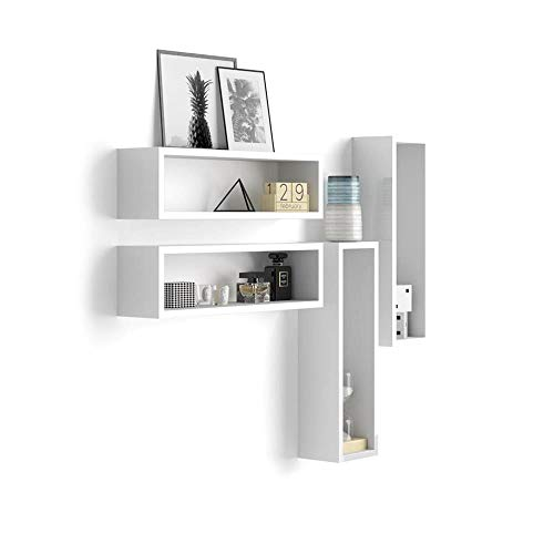 Mobili Fiver, Set di 4 Cubi da Parete, Iacopo, Bianco Lucido, 59 x 14,5 x 17 cm, Nobilitato, Made in Italy