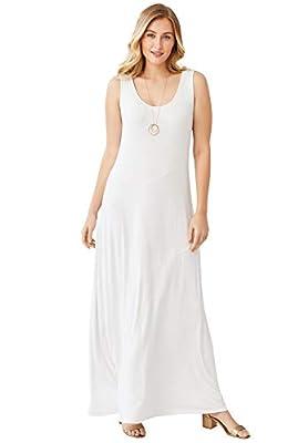 Jessica London Women's Plus Size Tank Maxi Dress - 22 W, White