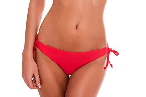 RELLECIGA Damen Bademode Bikini Unterteil mit Schnürchen Bottom Rot S