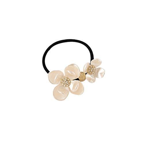 1pcs pearl shell da fiore forma ornamento fasce per capelli con strass intarsiato nucleo classico elastico per capelli di codino titolare elastico treccia anello loop hoop cerchio per parrucchiere