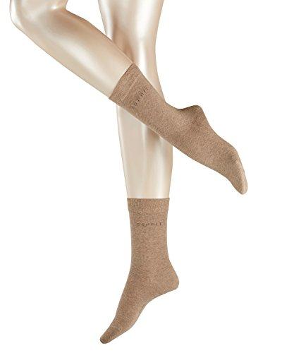 FALKE Damen Socken Uni 2-Pack - 80prozent Baumwolle, 2 Paar, Braun (Nutmeg Melange 5410), Größe: 35-38