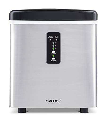 NewAir, AI-100SS, Countertop Sized Small Ice Maker, Makes 3 Sizes of Bullet Shaped Ice, 28 Pound Capacity, Stainless Steel