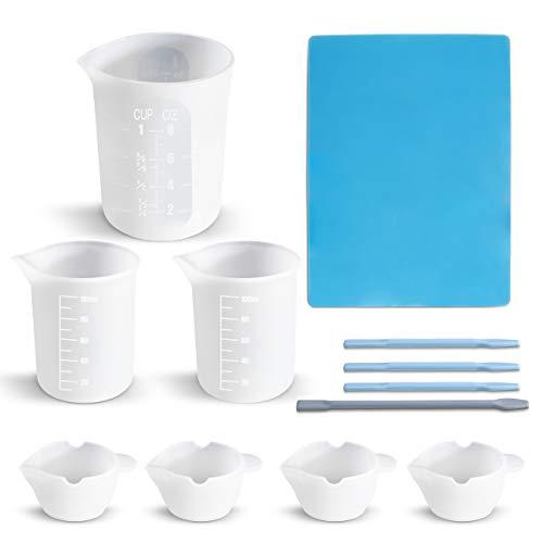 Richoose - Juego de 12 piezas de herramientas de silicona para moldes de fundición, incluye taza de medición de 250 ml y 100 ml, vasos de mezcla, palos de mezcla y alfombrilla de...